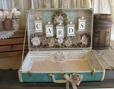 Vintage Suitcase for Rustic Wedding Card Holder - Wedding Card Box, Turquoise wedding decor via Etsy