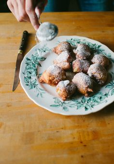 Wild Blueberry & Coconut Ricotta Doughnuts / Top with Cinnamon