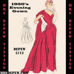 Vintage Sewing Pattern 1950's Ball Gown in Any Size  by Mrsdepew, $9.50...Would be a nice red carpet dress?
