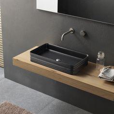 Lavabo da appoggio in ceramica nero dal design moderno Novello