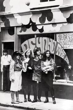 """London, England, 1968, Former psychology student opens London's latest Boutique, 'Beyond the Pale', Seen here are (L-R) Manageress Jo Cruickshank, model Chantey Mulville, owner Peter Woodworth & model Anthe Holt."""