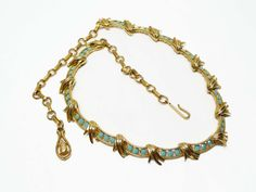 Turquoise Rhinestone Necklace - Unsigned Coro or Lisner - Vintage Jewelry