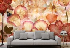 This gorgeous collage of dried flowers resembles an intriguing scrapbook of memories. A romantic watercolor mural filed with beauty and finesse. Sweet and fresh, colorful and inviting, flower wall art will enchant any room.