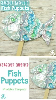A stunning fish craft with a difference! This embossed foil fish craft appeals to kids of all ages. Make fish puppets or pictures, the results are gorgeous! Summer Crafts For Kids, Projects For Kids, Art For Kids, Art Projects, Ocean Crafts, Fish Crafts, Dinosaur Crafts, Yarn Crafts, Homemade Puppets
