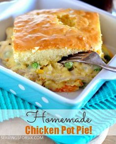 Homemade Chicken Pot Pie - Servings for Six