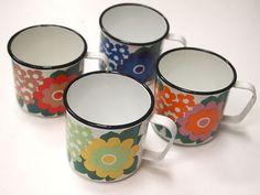 ARABIA FINEL FINLAND ENAMEL 4 mugs 1960s - SUPER RARE SET!   eBay