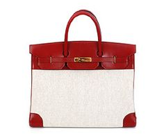 40cm Birkin in Rouge VIF Veau Box and H Toile - Stamp: P in a Circle