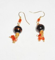 Orange Czech Crystal Dangle Earrings Artisan
