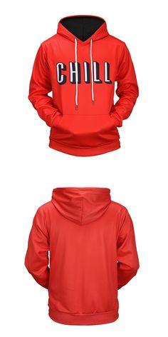 2017 Hip Hop 3D Print Red Autumn Hoody  Elastic Front Pocket Outerwear Unisex Coat Winter Sweatshirts