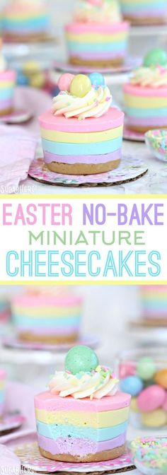 Easter No-Bake Mini Cheesecakes - pastel striped cheesecakes that are super easy, no baking required!   From http://SugarHero.com
