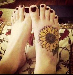 Sunflower watercolor Tattoos on foot for lovely girls - leaves