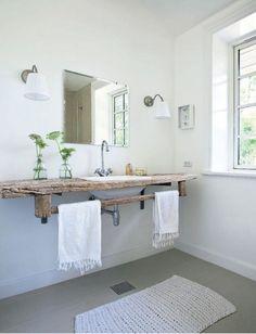 Scandinavian Design | Wood Slab as Bathroom Countertop