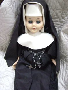 Vintage Nun Doll Catholic Holy Mother Rosary Black by junquegypsy, $19.20