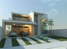 Storage goes right behind the wall in the carport.giving the whole carport to the cars and shade area to play etc. Modern House Plans, Modern House Design, Beautiful Architecture, Contemporary Architecture, Facade Design, Exterior Design, Residential Architecture, Architecture Design, Facade House