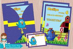 20 Convites Galinha Pintadinha para menino e 20 thank you card