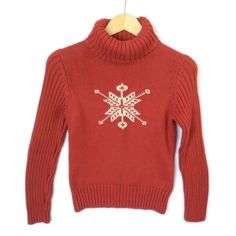 Snowflake Cotton Turtleneck Ugly Christmas Sweater