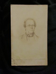 Original CDV antique Victorian Gentleman peak lapel ascot formal glasses