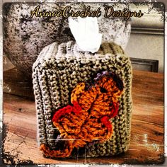 Fall Leaf Tissue Box Cover Free Pattern