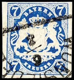 """Old German States Bavaria, Michel 21c. 7 Kreuzer Prussian-blue, above full- otherwise with wide margins cut, having bright colors outstanding quality with clear HK """"WUNSIEDEL 6 / 3"""", signed Brettl BPP (double) and photo expertize Brettl BPP: """"especially fresh colour and in fine, perfect condition, unrepaired. """", Michel 1. 000."""