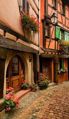 Cobblestone street in Alsace, France