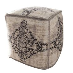 Chenille Square Canvas footstool Retro vintage style made from pure cotton and brown leather with numbers on the side, vintage design for industrial looking furniture at the Smithers online store