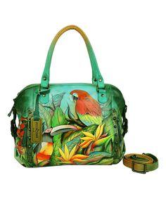 This Anuschka Handbags Green Tropical Bliss Medium Hand-Painted Leather Satchel by Anuschka Handbags is perfect! #zulilyfinds