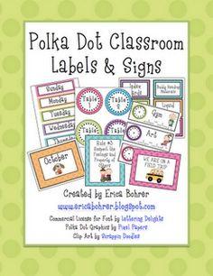 Classroom Decor: polka dots