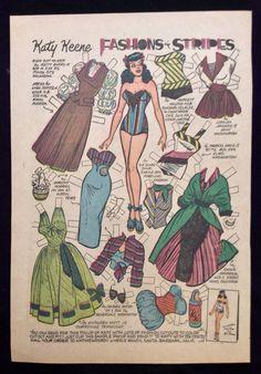 Old Katy Keene Comic Book Paper Dolls, Bill Woggon Art, Fashions in Stripes | eBay