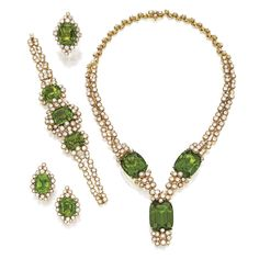 Suite of 18 Karat Gold, Peridot and Diamond Jewelry, Fred, Paris Comprising a necklace, bracelet-watch, ring and earclips