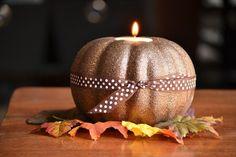 glitter pumpkin candle holders