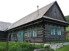 The village of Čičmany is located in hilly, forested countryside in Žilina region in western Slovakia.