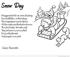 Sensory language winter Poem for children. Great for