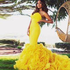 Vestido de Noche de la sirena Couture Acanalada Organza Amarillo Vestido de Fiesta 2016 Robe De Soirée Vestido de Fiesta Largo Sexy Vestidos