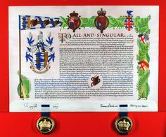 A grant of arms and crest by letters patent to Brian Arundel