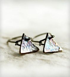 Hammered Silver Triangle Drop Earrings by Caprichosa Jewelry on Scoutmob Shoppe