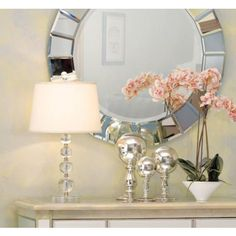 I love everything about this - Stacked Ball Acrylic Table Lamp, Round Mirror, Orchid - light airy design just makes me happy.