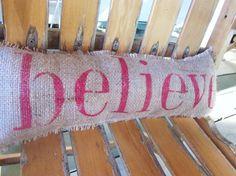 burlap christmas crafts | Believe burlap pillowchristmas | christmas crafts