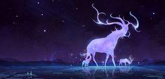 Night deer, mist XG on ArtStation at https://www.artstation.com/artwork/5EP4g
