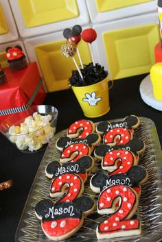 Fun cookies at a Mickey Mouse birthday party! See more party planning ideas at C… - Mickey mouse Theme Mickey, Mickey Mouse Clubhouse Birthday Party, Mickey Mouse 1st Birthday, Mickey Y Minnie, Mickey Mouse Parties, Mickey Party, 3rd Birthday Parties, 2nd Birthday, Mickey Mouse Cookies