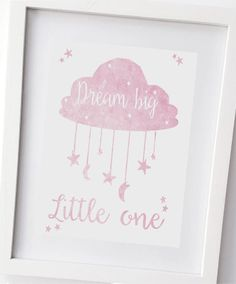 A gorgeous print designed in my workshop. The easiest way to add a splash of colour and personality to any room are with OliHarri prints.  This gorgeous print has a lovely watercolour appearance. This style features in pink and white and makes a striking addition to any little girls bedroom or nursery walls. The quote reads Dream big little one This is Unframed and printed on high quality, glossy card, really making the colours pop! It is ready to frame at home and is sized at 10 x 8 inches…