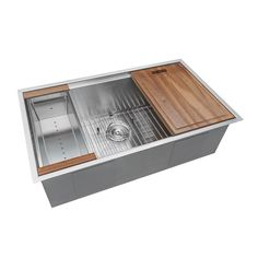 Ruvati 32 in. Single Bowl Undermount 16-Gauge Stainless Steel Ledge Kitchen Sink with Sliding Accessories-RVH8300 - The Home Depot
