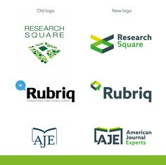 Restyling logo of Reseach Square, Aje and Rubriq.