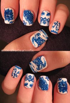 Blue Fine China Nails