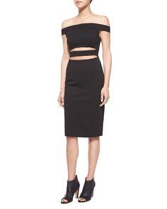 Off-The-Shoulder Cutout Dress, Black, Size: 6 - Nicholas