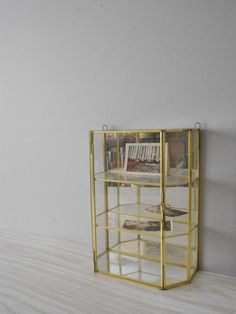 Large Geometric Glass Brass Mirror Curio Cabinet // By Simplychi, $55.00