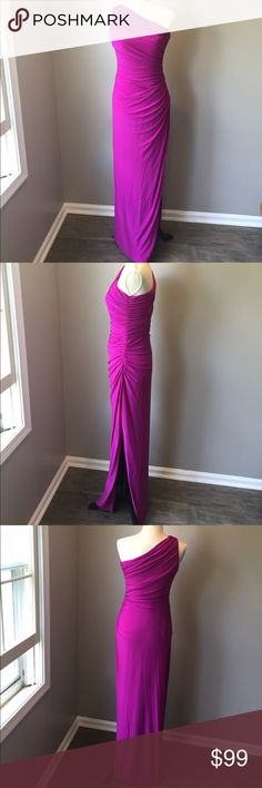 Evening gown in size 10. Never worn. Ralph Lauren Evening gown in size 10. Raspberry color. Never worn. One shoulder. Ruched fabric in all the right places to hide imperfections and so comfortable! Very stretchy soft material that slips on. No stiff zippers or scratchy materials at all. Lauren Ralph Lauren Dresses One Shoulder