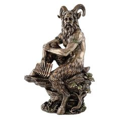 "H: 12"" W: 8"" Cold Cast Bronze In Greek religion and mythology, Pan is the god of the wild, shepherds and flocks, nature of mountain wilds and rustic music, and companion of the nymphs. With his homela"