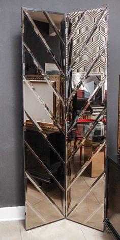 Mirror Screen in the Style of Pierre Cardin image 2 Mirror Panels, Mirror Wall Art, Contemporary Interior Design, Luxury Interior Design, Glass Design, Wall Design, Fancy Mirrors, Living Room Panelling, Spiegel Design