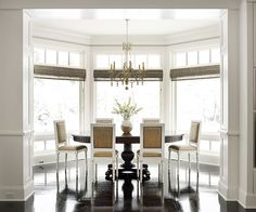 Love the bay window in this dining room - makes it look open, allows in natural light and you have the ability to peer out onto a landscaped yard. #windows #baywindows