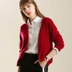 Thick Wool Short Cardigan Women Open Stitch Cardigan All Match Thick Knit V-neck Full Sleeve Cardigan Sweater Little Jacket